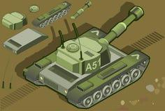 在背面图的等量坦克 库存照片