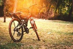 一辆红色和黑山自行车 免版税库存照片