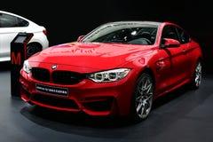 一辆红色BMW M4汽车 免版税图库摄影