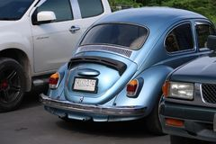 一辆经典,蓝色大众甲壳虫汽车 库存图片