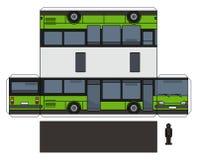 一辆绿色公共汽车的纸模型 向量例证