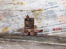 一辆老台车从盐提取时离开在盐矿在斯勒尼克-盐沼斯勒尼克Prahova -在Prahova镇  库存照片