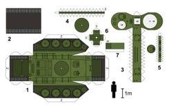 一辆老坦克的纸模型 库存图片