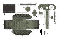 一辆老坦克的纸模型 免版税库存图片