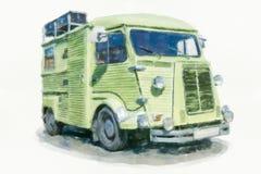 一辆老汽车的水彩绘画 免版税库存图片