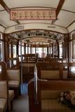 一辆老电车的老内部 免版税库存照片