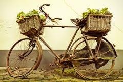 一辆老自行车的减速火箭的被称呼的图象有篮子的 免版税库存图片