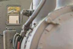 一辆老蒸汽机车的特写镜头 免版税库存照片