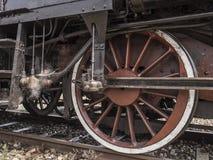一辆老蒸汽机车的详细资料 免版税库存照片