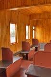 一辆老铁路汽车的内部 新西伯利亚博物馆  库存照片