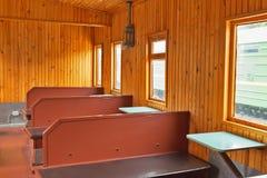 一辆老铁路汽车的内部 新西伯利亚博物馆  免版税库存图片
