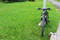 一辆自行车在绿色自然庭院也叫周期 免版税库存照片