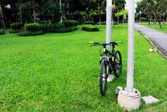 一辆自行车在绿色自然庭院也叫周期 库存照片
