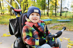 一辆自行车的可爱的小男孩在秋天公园 库存图片
