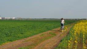 一辆自行车的女孩在自然 妇女骑在城市之外的一辆自行车 油菜籽领域 航空蓝色云彩国家(地区)开放全景路西西里岛天空 股票视频