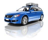一辆蓝色汽车的三维图象 库存照片