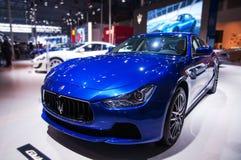 一辆蓝色Maserati汽车 图库摄影