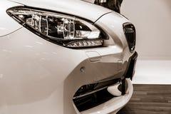 一辆行政小轿车BMW 640i Gran小轿车的细节 图库摄影