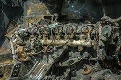 一辆被烧的汽车的引擎 图库摄影