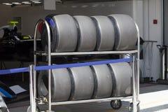 一辆赛车F1的轮胎 库存图片