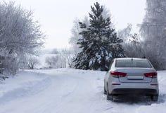 一辆银色汽车在路的边停放 免版税图库摄影