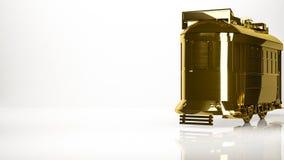 一辆镇电车的金黄3d翻译在演播室里面的 图库摄影