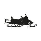 一辆雪上电车的黑剪影在白色背景的 免版税库存图片