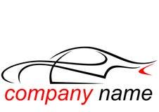 一辆飞行动力学的跑车的商标 库存图片