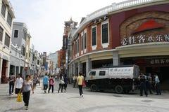 一辆amoured汽车在广州交付/拾起从必胜客的现金 库存图片