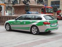 一辆Polizei汽车在德国 免版税库存图片