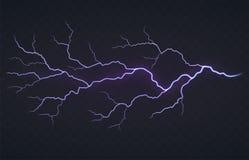 一道闪电,在黑透明背景的雷暴 明亮的发光的放电 向量例证