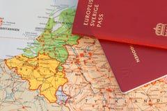 一部分护照和地图的中间欧洲 库存照片