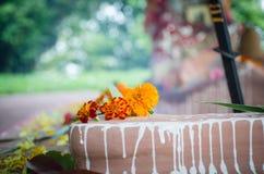 一部分特写镜头的dhuni火仪式 免版税库存照片