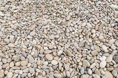 一部分的一个多岩石的海滩撒布与小光滑的小卵石白色灰色 免版税库存照片