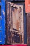 一部分的一个木木头的门不同的类型 免版税库存照片
