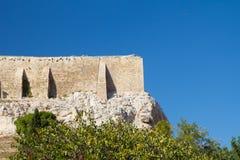 一部分的上城墙壁在雅典 库存照片