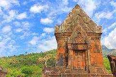 一部分的下雨的大桶Phou, Wat Phu,高棉印度寺庙复合体  图库摄影