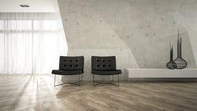 一部分的与两个扶手椅子3D翻译的时髦的内部 免版税库存照片