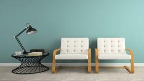 一部分的与两个白色扶手椅子3D翻译的内部 免版税图库摄影