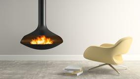 一部分的与现代壁炉和扶手椅子3D翻译的内部 图库摄影
