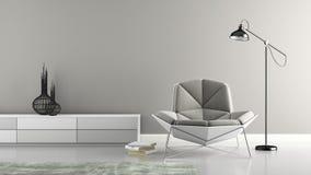 一部分的与现代灰色扶手椅子3d翻译的内部 图库摄影