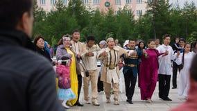 一部分的全国雅库特地区欢乐圆圈舞 图库摄影