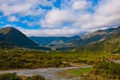 一部分的南阿尔卑斯山脉 库存图片