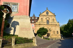 一部分的卡默利特平纹薄呢教会在琥珀, Franconia,德国 库存图片