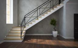 一部分的古典内部,楼梯视图 库存照片