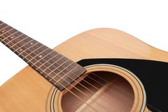 一部分的吉他在白色背景中 免版税库存图片