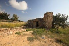 一部分的国王帕福斯,塞浦路斯的坟茔的废墟 免版税库存图片
