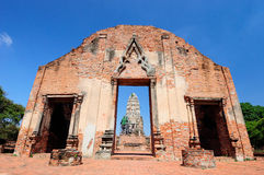一部分的在寺庙墙壁上的废墟 免版税库存照片