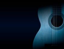 一部分的在黑背景的一把蓝色声学吉他 图库摄影