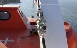 一部分的大轮渡,在渡轮的保存的小船 库存照片